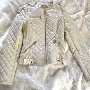 Guess faux white quilted leather jacket